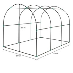 Gewächshaus 300x200x200 cm aus PE-Gitterfolie, 135 g/m2, Rahmen aus Stahl, Reißverschluss und 6 Fenstern, Transparent/Grün