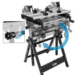 Profi Werkbank, stabiles Stahlgestell und Arbeitsfläche aus Aluminium, klappbar