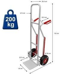 """Sackkarre mit Treppenrutsche, belastbar bis 200 kg, aus Aluminium, PU Kunststoff Griff, 3.00-4"""" Gummi-Luft-Rädern"""