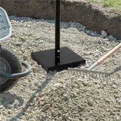 Betonstampfer 12 kg mit Gummierte T-Griff, aus Stahl, Schwarz lackiert, 21 x 21 cm Grundplatte