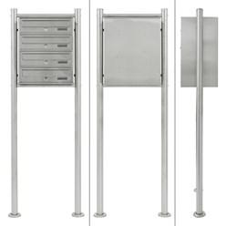 Briefkastenanlage mit Standfuß 4 Fach silber, 50x150x27 cm, aus Edelstahl