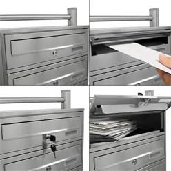 Briefkastenanlage mit Standfuß 5 Fach silber, 50x150x27 cm, aus Edelstahl
