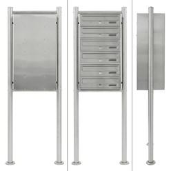 Briefkastenanlage mit Standfuß 6 Fach silber, 50x150x27 cm, aus Edelstahl