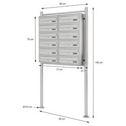 Briefkastenanlage mit Standfuß 12 Fach, silber, 89x150x27 cm, aus Edelstahl