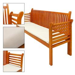 Gartenbank 3 Sitzer 159x49.5x90.5 cm Braun aus Kiefer mit Cremefarbenem Kissen