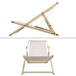 Liegestuhl klappbar aus Holz 3 Liegepositionen bis 120 kg Beige