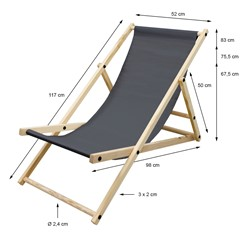 Liegestuhl klappbar aus Holz 3 Liegepositionen bis 120 kg Anthrazit