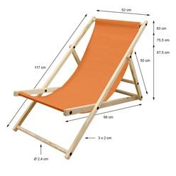 Liegestuhl klappbar aus Holz 3 Liegepositionen bis 120 kg Orange