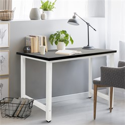 Desk 120x60x74.5 cm, black and white, MDF tabletop with stable metal frame