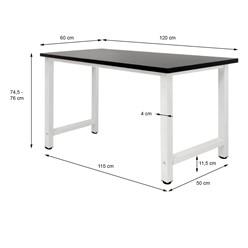 Schreibtisch 120x60x74,5 cm, Tischplatte schwarz, Metallgestell weiß