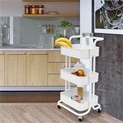 Küchenwagen weiß aus Stahl mit 3 Etagen