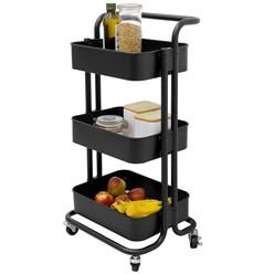 Küchenwagen Schwarz, mit 3 Ebenen Griff und Rollen, aus Metall