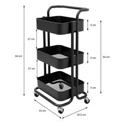 Küchenwagen schwarz aus Stahl mit 3 Etagen