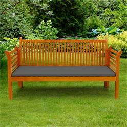 Gartenbank 3 Sitzer 159x49.5x90.5 cm Braun aus Kiefer mit Dunkelgrauem Kissen