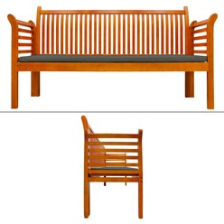 Gartenbank 3 Sitzer 159x49.5x90.5 cm Braun aus Kiefer mit Dunkelgrau Kissen