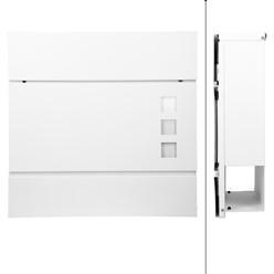 Moderner Design Briefkasten mit Zeitungsfach, Weiß, aus pulverbeschichtetem Stahl mit 2 Schlüsseln und Montagematerial