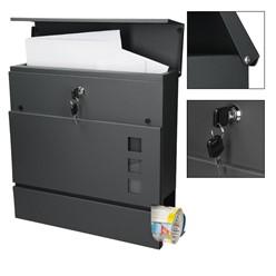 Moderner Design Briefkasten mit Zeitungsfach, Anthrazit, aus pulverbeschichtetem Stahl mit 2 Schlüsseln und Montagematerial
