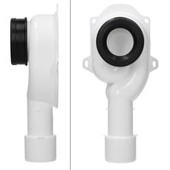 Absaug Siphon für Urinal Pissoir, 50 mm DN40/50, aus PE mit Dichtung, senkrechter Abgang zum HT-Rohr, Weiß