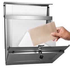 Moderner Design Briefkasten mit Zeitungsfach Silber aus Edelstahl