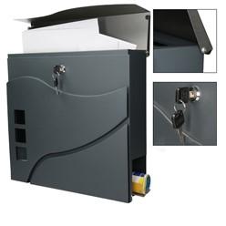 Moderner Design Briefkasten mit Zeitungsfach, Anthrazit/Silber, aus Edelstahl mit 2 Schlüsseln und Montagematerial