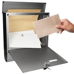 Briefkasten mit Zeitungsfach, Silber, aus rostfreier Edelstahl mit 2 Schlüsseln und Montagematerial
