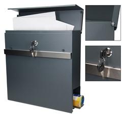 Moderner Design Briefkasten mit Zeitungsfach, Anthrazit, aus pulverbeschichtet Stahl mit 2 Schlüsseln und Montagematerial