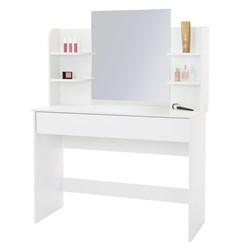 Schminktisch mit Hocker, weiß, 108x40x140 cm, aus MDF Holz