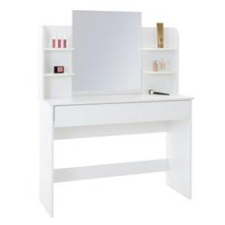 Schminktisch mit Spiegel, weiß, 108x40x140 cm, aus MDF Holz