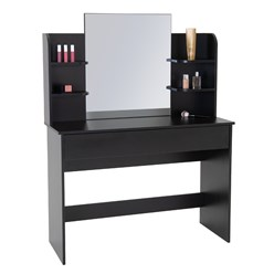 Schminktisch mit Spiegel, schwarz, 180x40x140 cm, aus MDF Holz