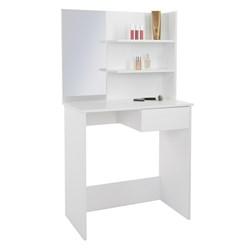 Schminktisch mit Spiegel, weiß, 75x40x135 cm, aus MDF Holz