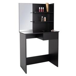 Schminktisch mit Spiegel, schwarz, 75x40x135 cm, aus MDF Holz