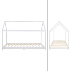 Kinderbett weiß, 200x99x142 cm, aus massivem Kiefernholz, mit Lattenrost und Dach