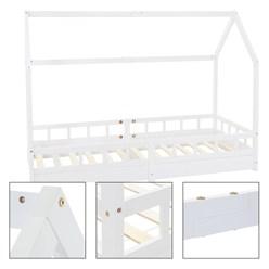 Kinderbett weiß, 200x99x152 cm, aus massives Kiefernholt mit Rausfallschutz, Lattenrost und Dach