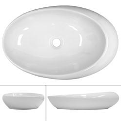 Waschbecken Ovalform 585x375x145 mm, Weiß, aus Keramik