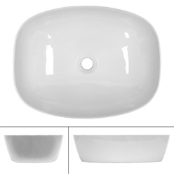 Waschbecken Ovalform 505x385x135 mm, Weiß, aus Keramik