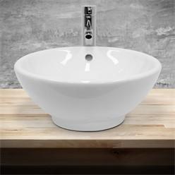Waschbecken Rundform 420x420x170 mm, Weiß, aus Keramik