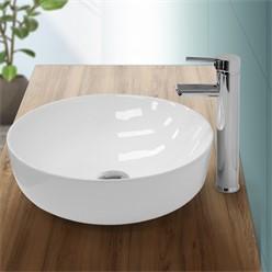 Waschbecken Rundform 400x400x135 mm, Weiß, aus Keramik