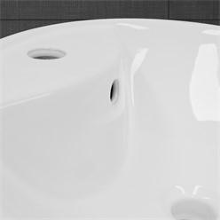 Waschbecken Rundform 455x185 mm, Weiß, aus Keramik