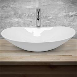 Waschbecken Ovalform 640x365x130 mm, Weiß, aus Keramik