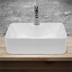 Waschbecken Quadratischform 480x380x140 mm, Weiß, aus Keramik