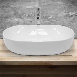 Waschbecken Ovalform 600x420x145 mm, Weiß, aus Keramik