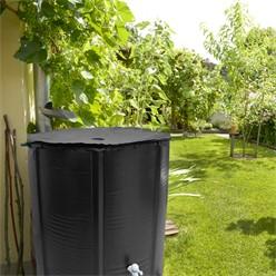 Regentonne faltbar 500 L mit Hahn 80x98 cm aus PVC Schwarz