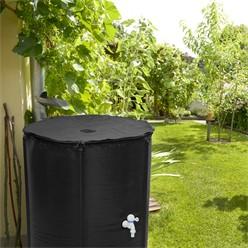 Regentonne faltbar 200 L mit Hahn 60x70 cm aus PVC Schwarz
