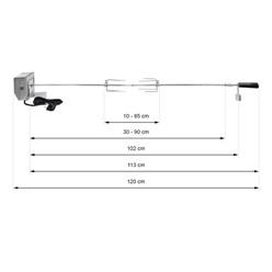 Grillspieß Set 120cm mit 2x Fleischnadeln und Edelstahl Motor 2 U/m 230V