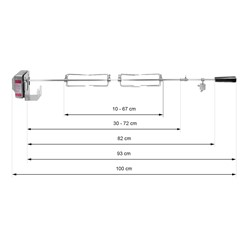 Grillspieß Set 100cm mit 4x Fleischnadeln und Edelstahl Motor 2-3 U/m 230V