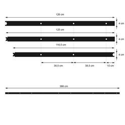 Schiebetürbeschlag 366 cm, Schwarz, aus Kohlenstoffstahl