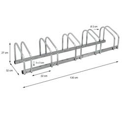 Fahrradständer für 5 Fahrräder 130 x 32 x 27 cm, aus verzinktem Stahl, inkl. Montagematerial