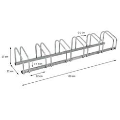 Fahrradständer für 6 Fahrräder 160 x 32 x 27 cm, aus verzinktem Stahl, inkl. Montagematerial