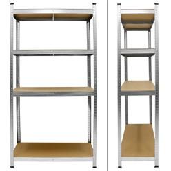 Werkstattregal silber, 160x80x40 cm, aus MDF Holzfaserplatte und verzinktes Metall, bis 320 kg