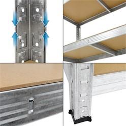 Werkstattregal silber, 170x70x30 cm, aus MDF Holzfaserplatte und verzinktes Metall, bis 350 kg